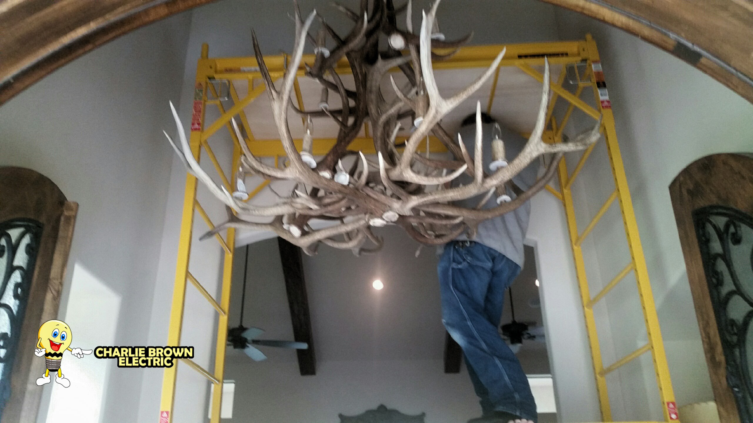 Chandelier installation in grapevine tx licensed electrician light chandelier custom elk antler chandelier installation arubaitofo Images